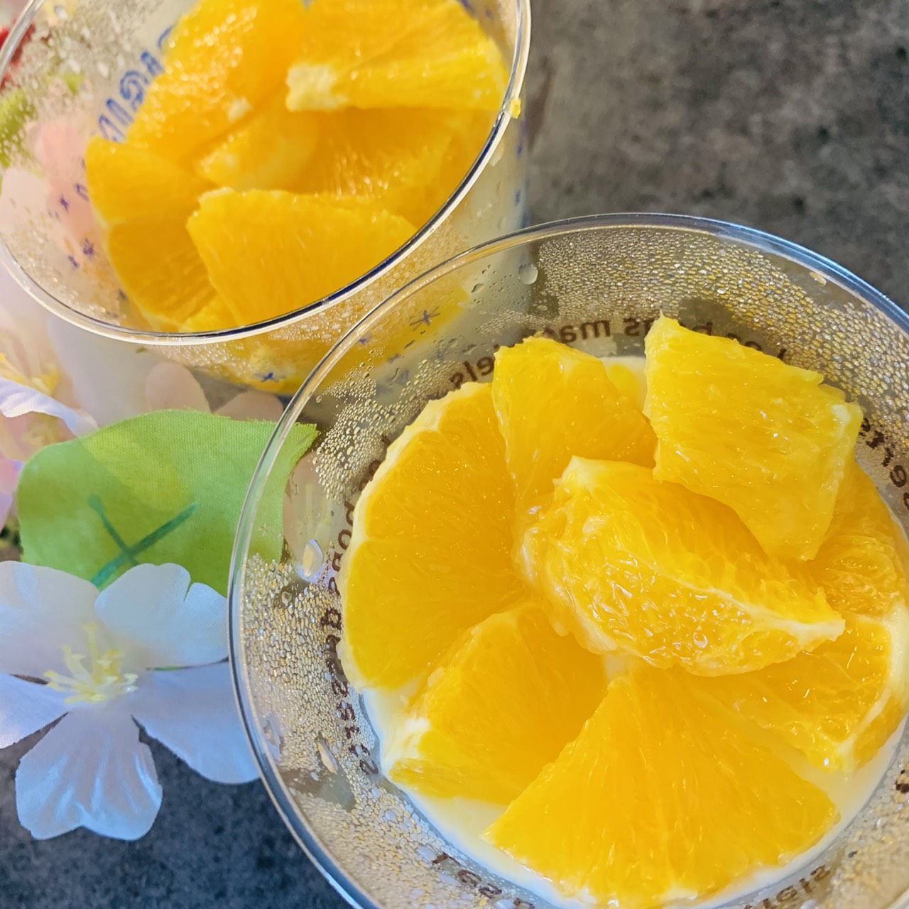 オレンジとミルクプリン