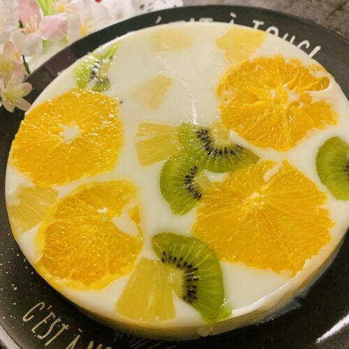 【糖質6.7g】フォトジェニック♪フルーツ寒天ケーキ